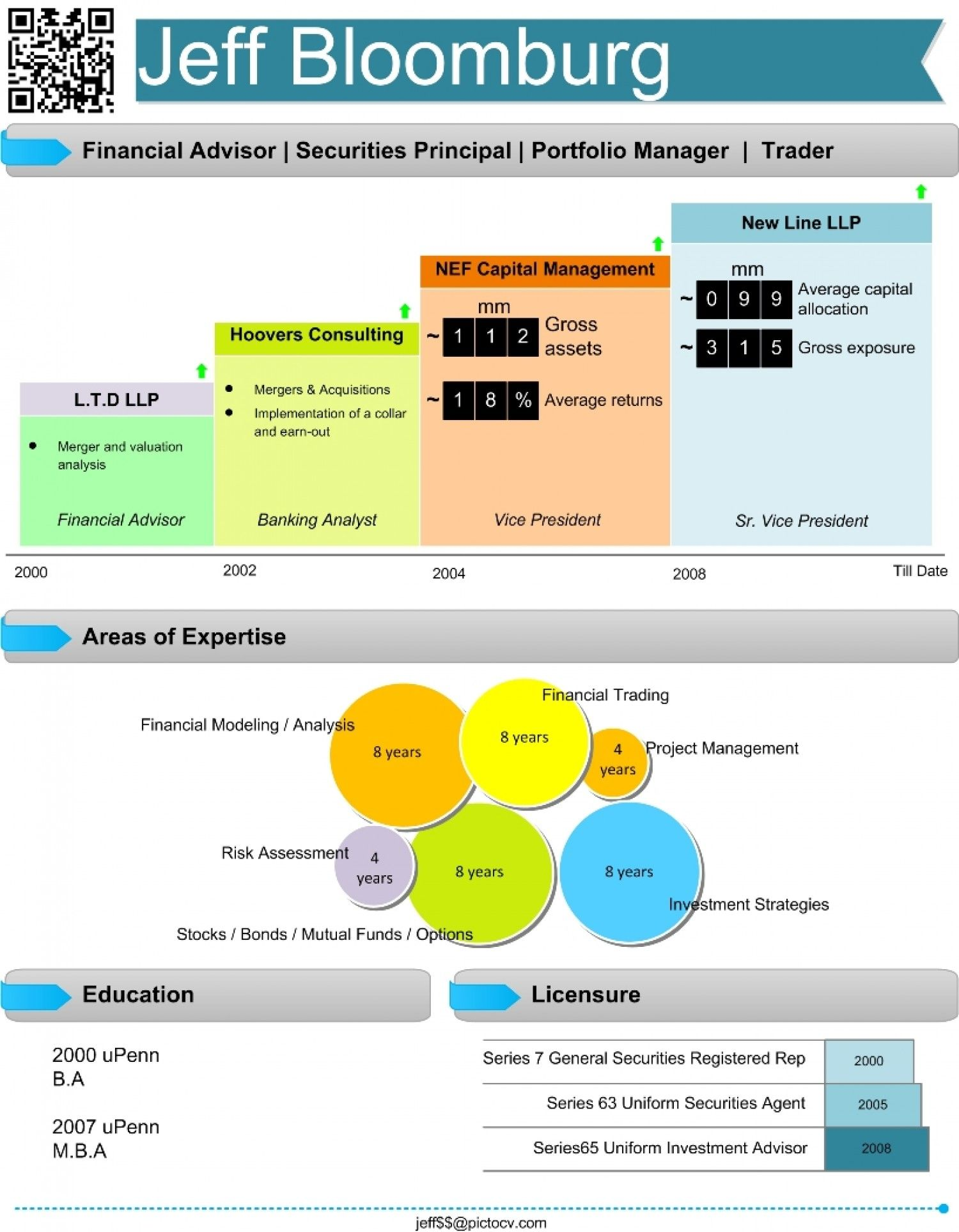 financial analyst visual resume visual ly infographic