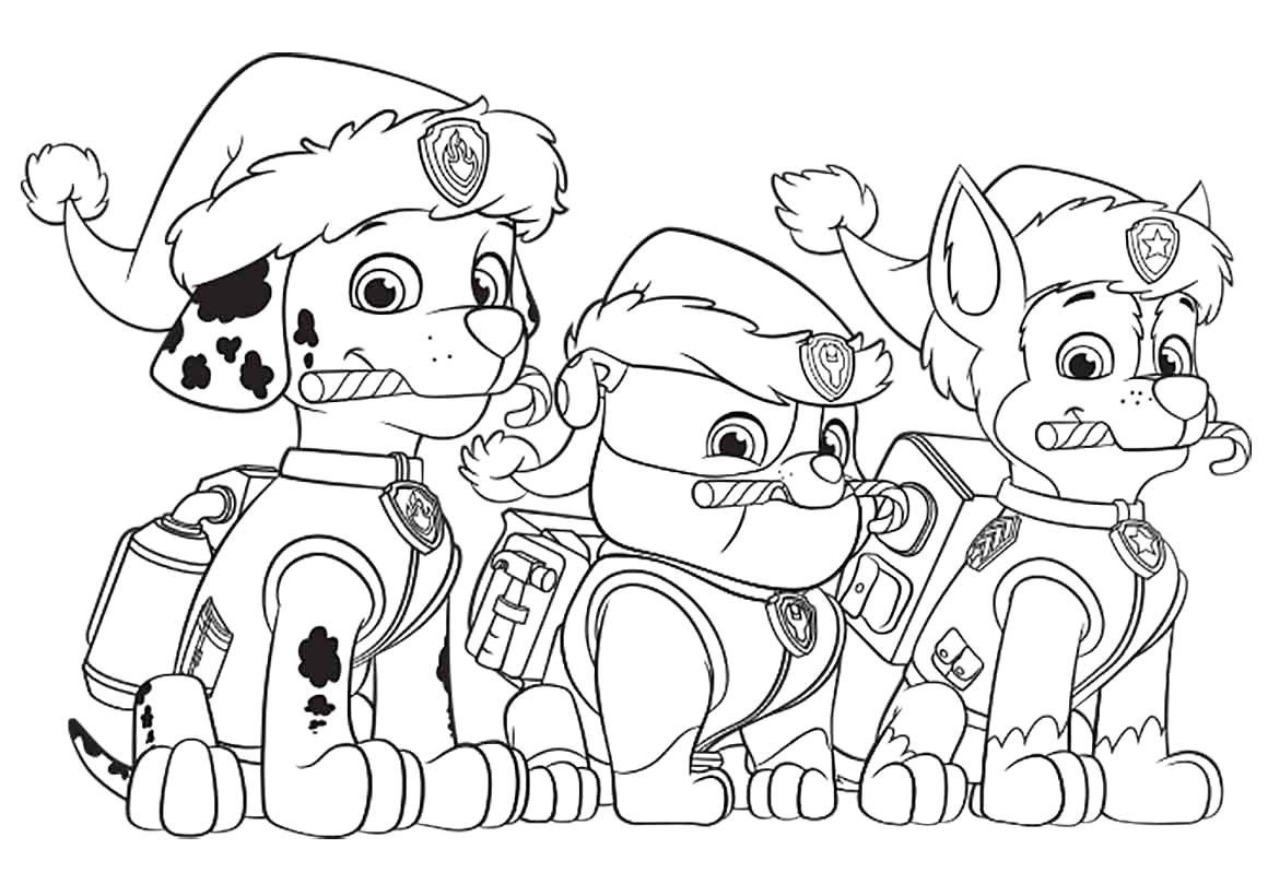 Paw Patrol Christmas Party Coloring Page Paw Patrol Coloring