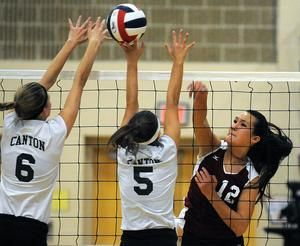 Westborough S Samantha Kehoe Right Goes For A Kill Against Canton S Avery Devoe Left And Kaitlin Phillips During The High School Sports High School Sports