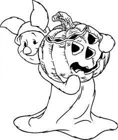 Pimpi Personaggio Winnie The Pooh Con La Zucca Di Halloween Disegno