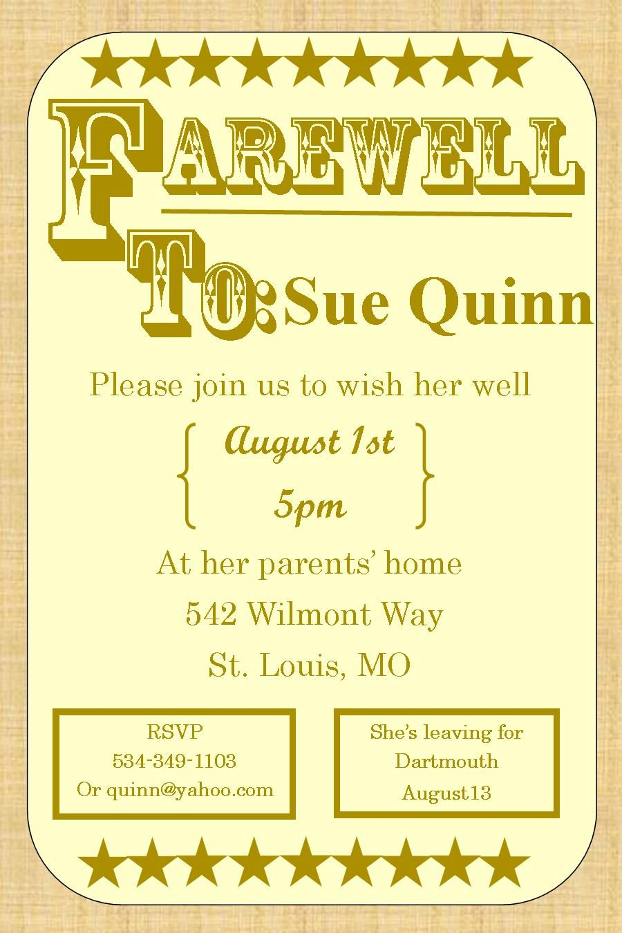 Going away party invitations farewell burlap farewell going away going away party invitations farewell burlap stopboris Images