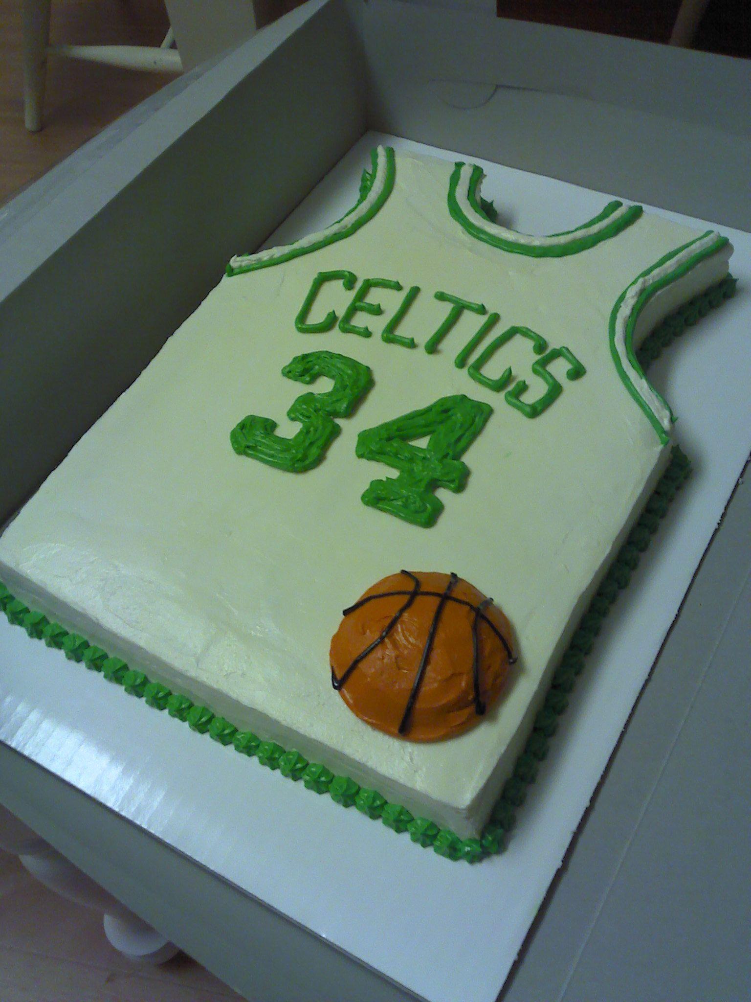 Celtics jersey cake winter cake birthday balloons