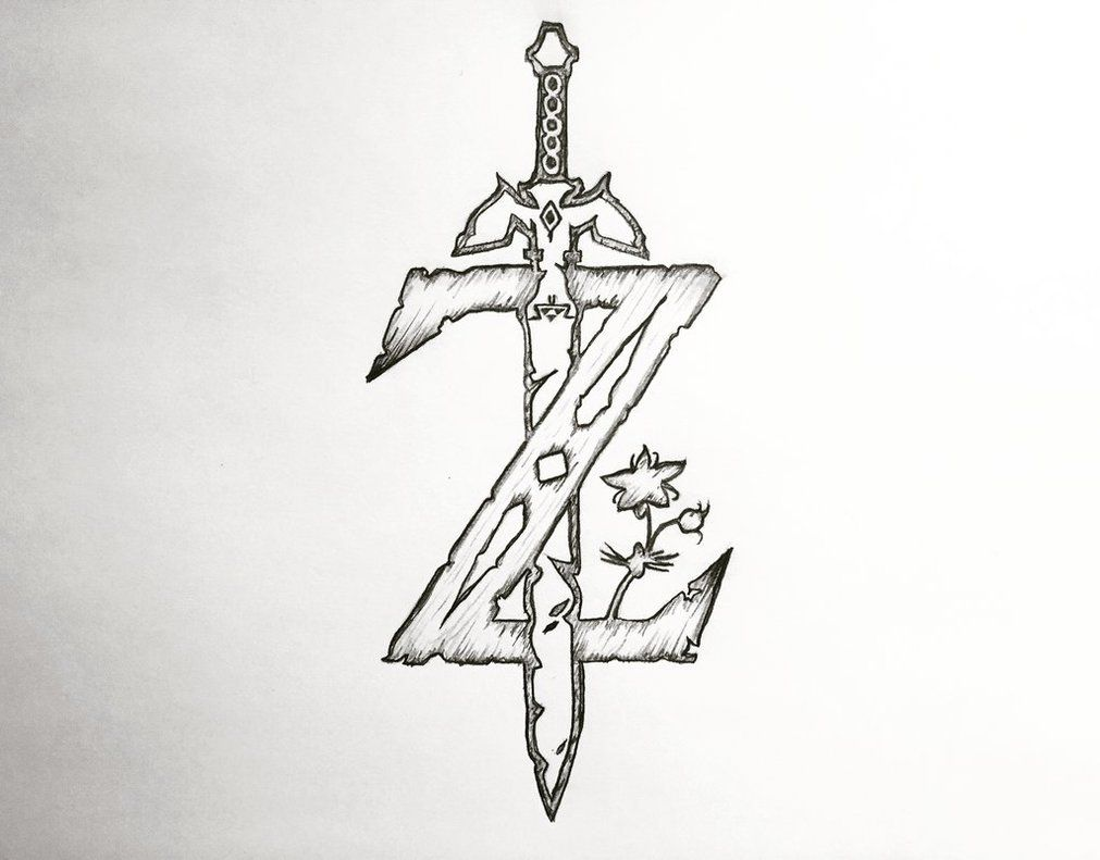 The Legend Of Zelda Breath Of The Wild Z Logo Drawing Done With