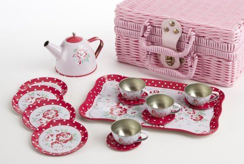 Delton Children's Tin Tea Set with Roses and Polka Dots by Delton Products. $22.03. Delton has created this wonderful old fashioned children's tin tea set with roses and polk dots. This set for four includes a teapot, cups and saucers, plates, a tray and a pink plastic wicker basket carrying case. Not suitable for children younger than 36 months.