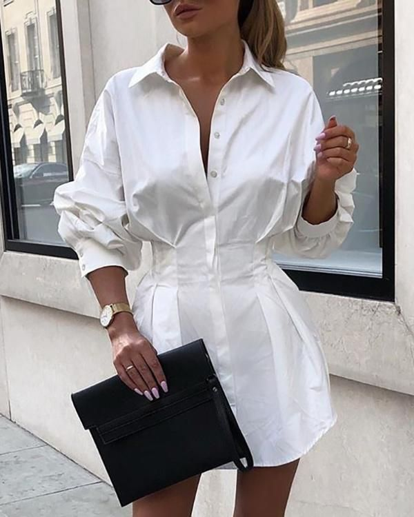 Letter Print Short Shirt Dress | Shirt dress, Fashion, Clothes