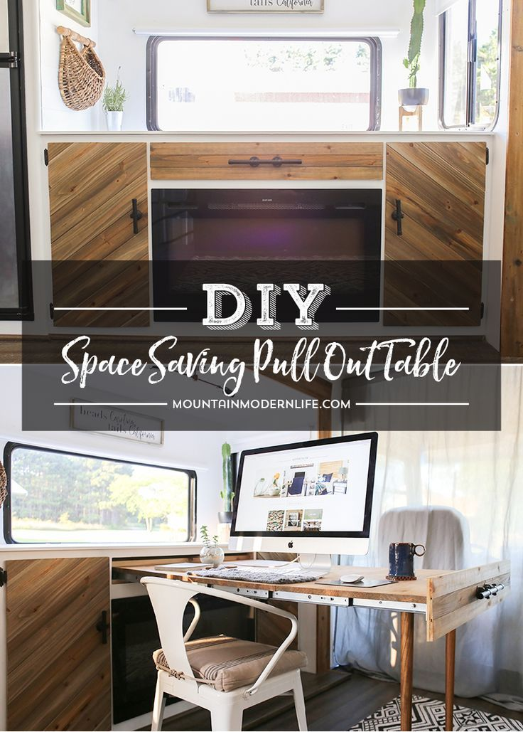 Space Saving DIY pull-out table | Organize Home | Diy rv, Rv