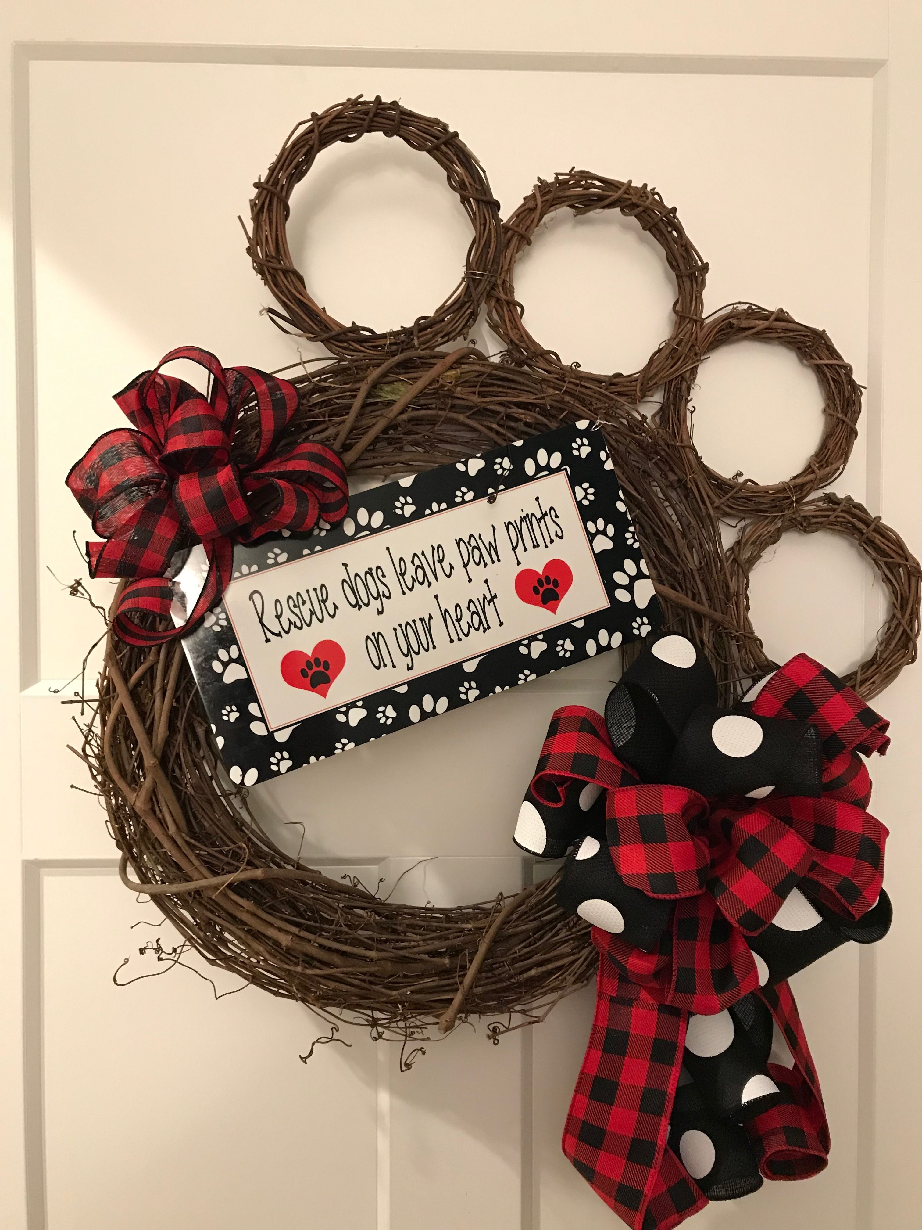 54634aa1 Paw Print Grapevine Wreath, Rescue Paw Print Wreath, Buffalo Plaid ...