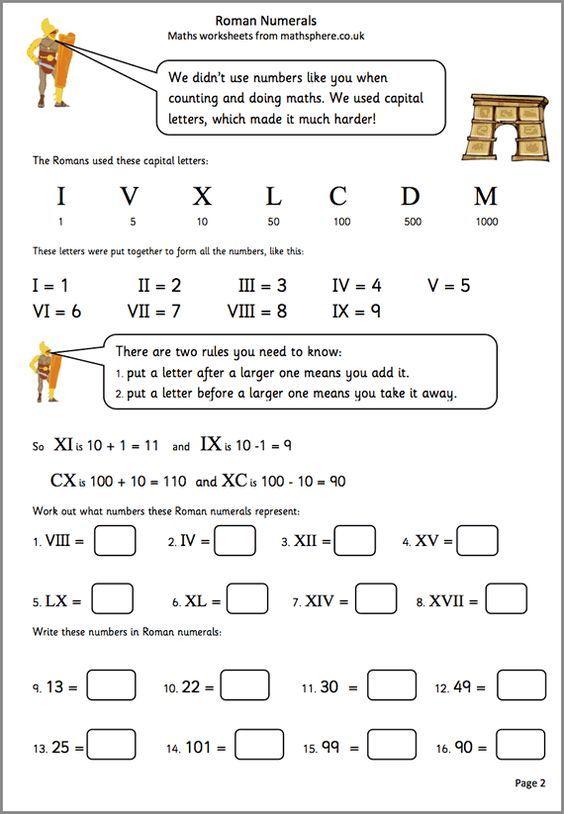 MathSphere Free Sample Maths Worksheets u2026 Pinteresu2026 - roman numeral chart template