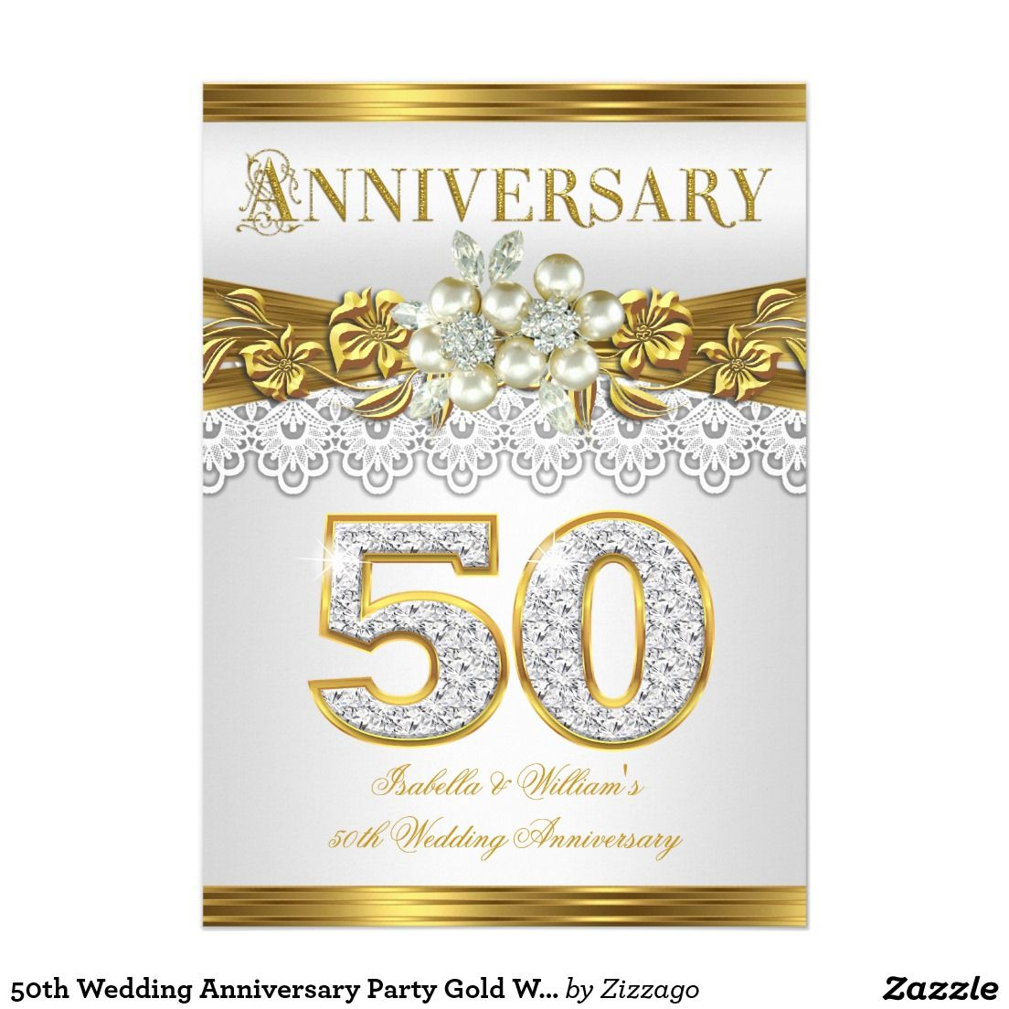 50th wedding anniversary party gold white pearl 5x7 paper invitation 50th wedding anniversary party gold white pearl 5x7 paper invitation card stopboris Image collections
