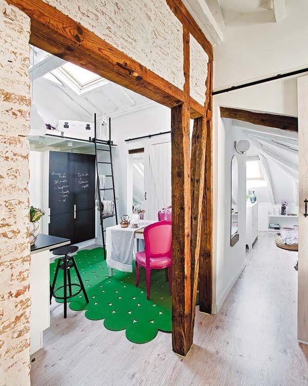 Virlova Interiorismo Deco Un ático ecléctico lleno de pinceladas - como decorar un techo de lamina