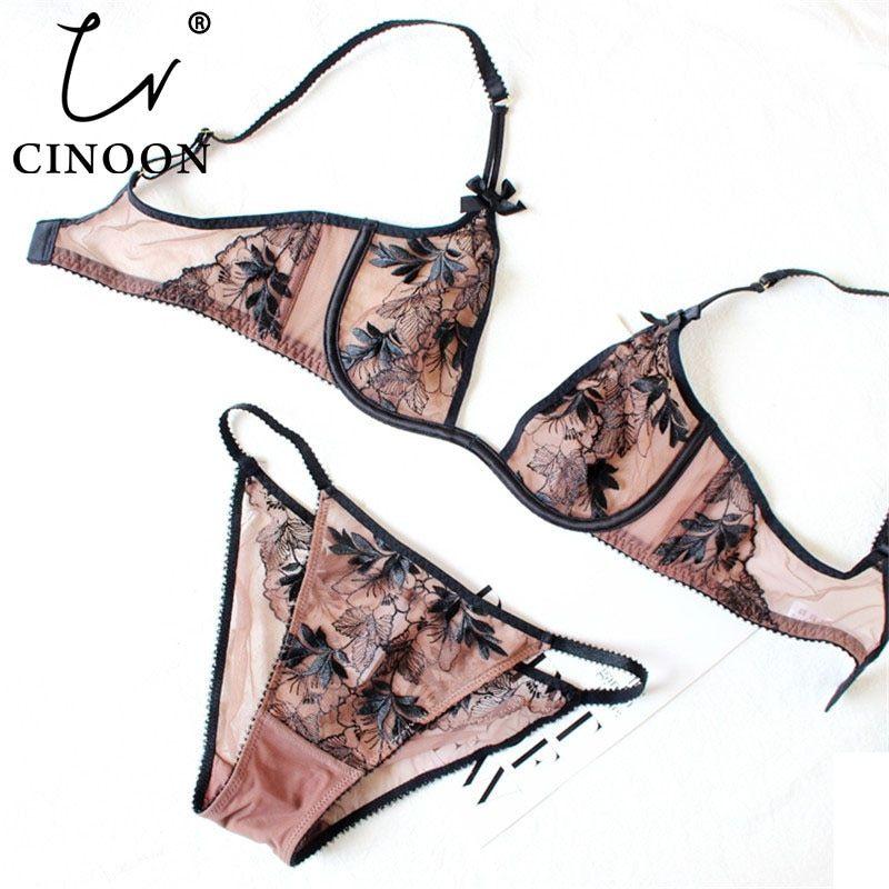 See Through Ladies Plunge Underwear Bralette+Panties Lingerie Bra /& Brief Sets