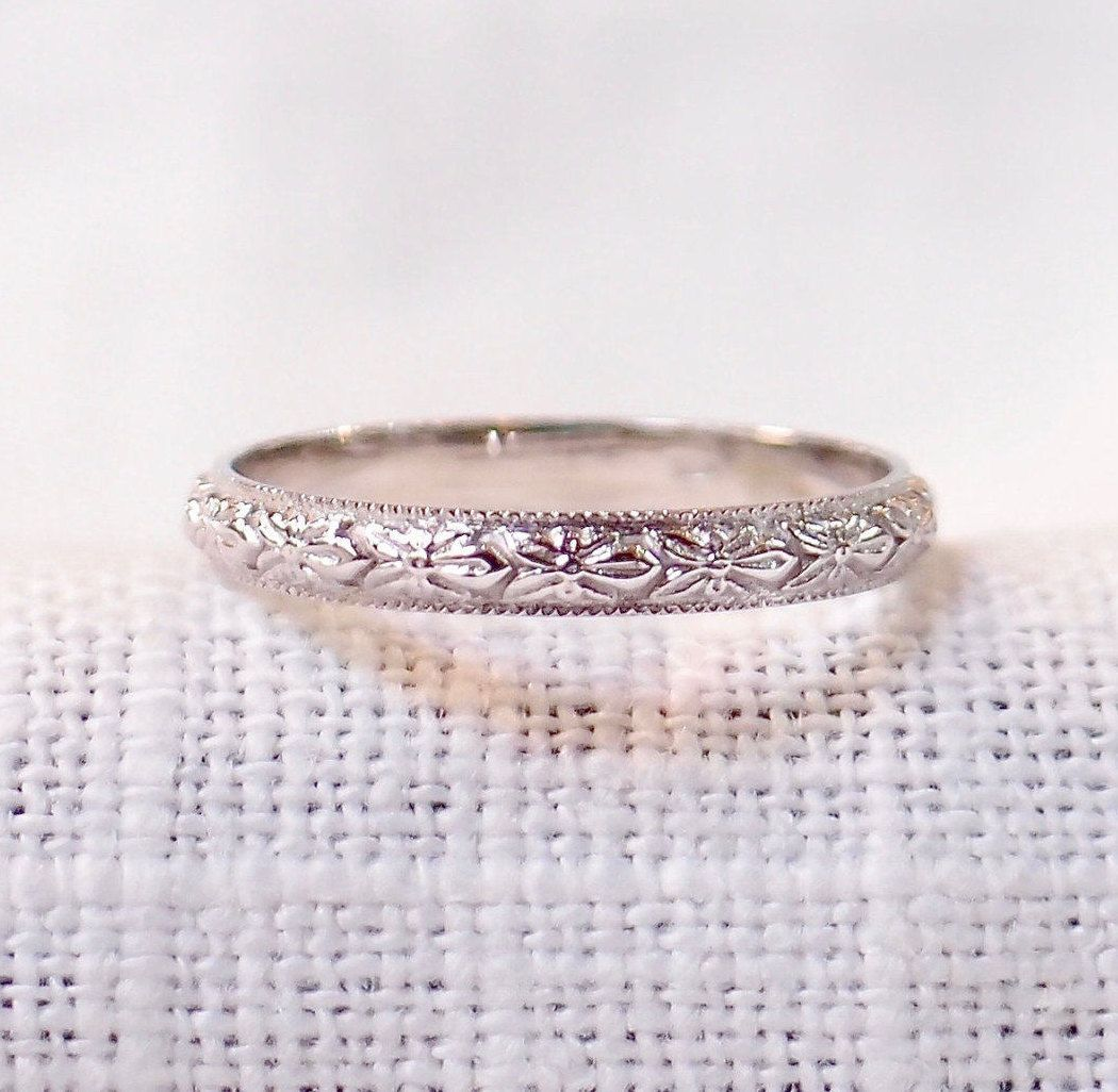 Vintage Wedding Band Engraved In Orange Blossom Design 14k White Gold Vintag Wedding Rings Unique Vintage Wedding Rings Vintage Simple Wedding Rings Vintage