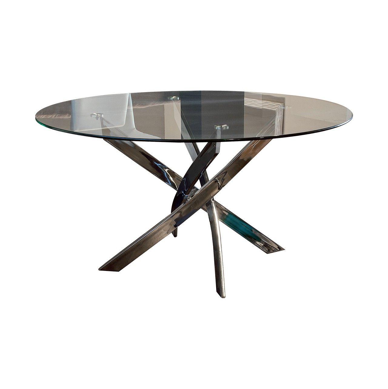 Mesa de comedor redonda con pata centro pulpo cromada - Patas para mesas redondas ...