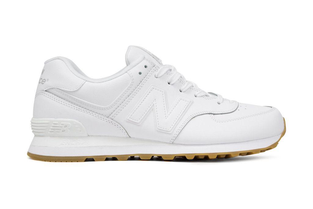 New Balance Men's 574 'Leather' - White/Gum