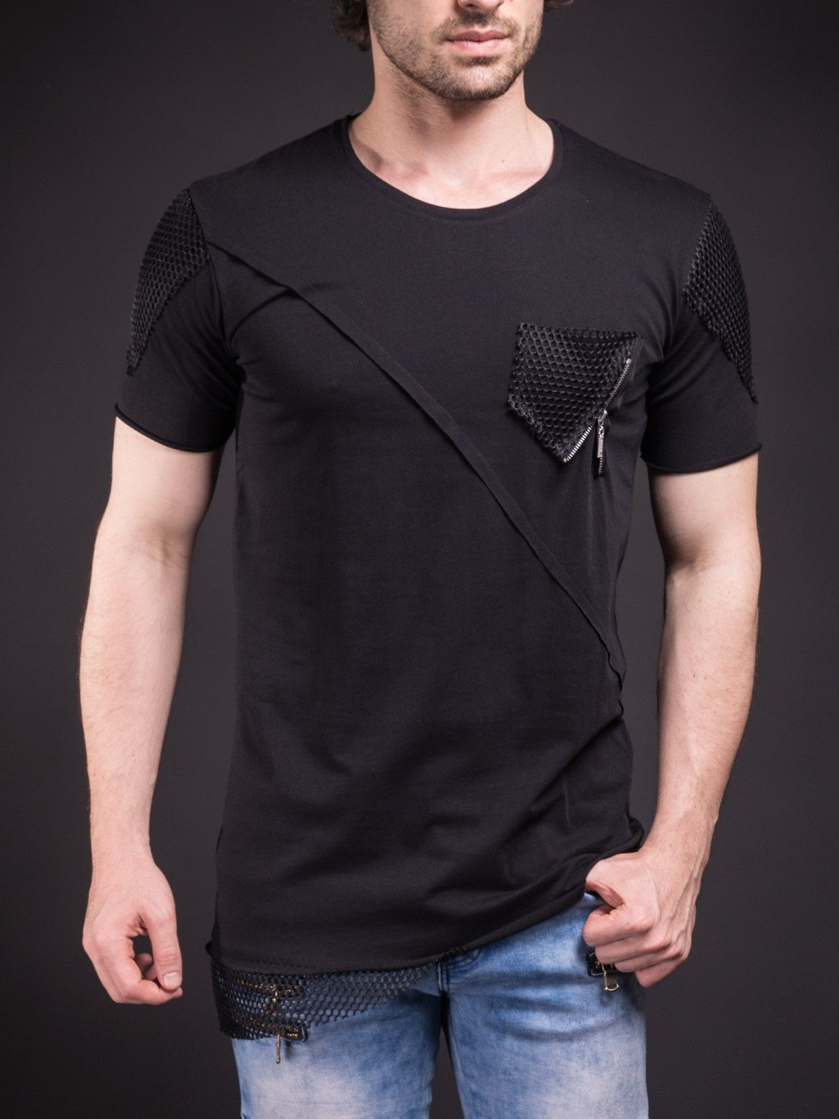 E1 Men 3 Bars Full Side Zipper T-shirt - Black | Muscles, Cotton ...