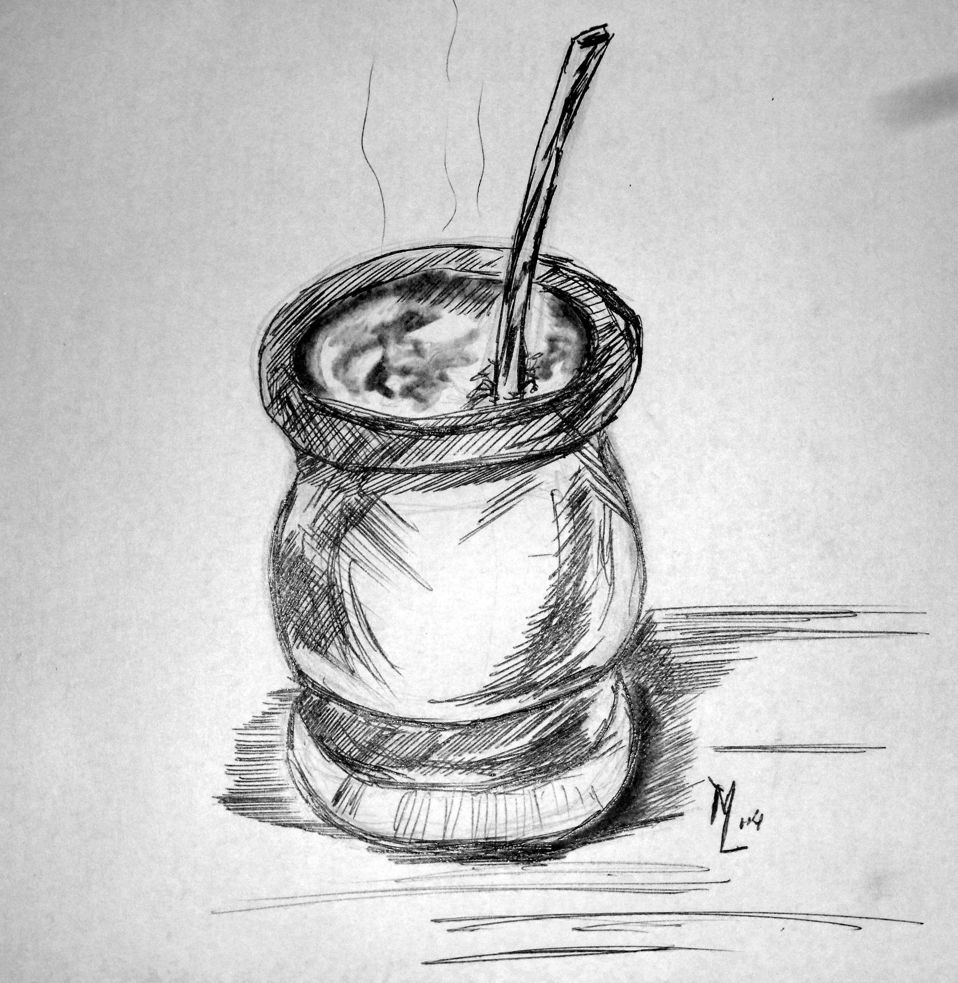 Dibujo rpido de un mate a tinta lapicera bic o lapicero y