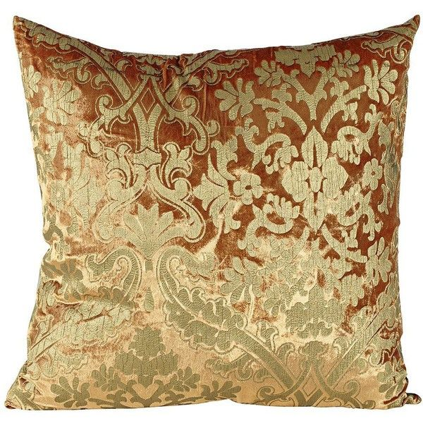 Crushed Velvet Rust Floral 40 Square Down Throw Pillow 40 Custom Down Decor Pillows