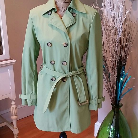 WEEKEND SALE  ♡ Covington Trench Coat Covington Trench Coat, color is green. Coat is lined. Coat was barely used. Still in great condition. Button down with belt.  Please see 4th picture for material of jacket. Size 6-8. 3rd picture is the color green of jacket.  For additional information please ask questions. Covington Jackets & Coats