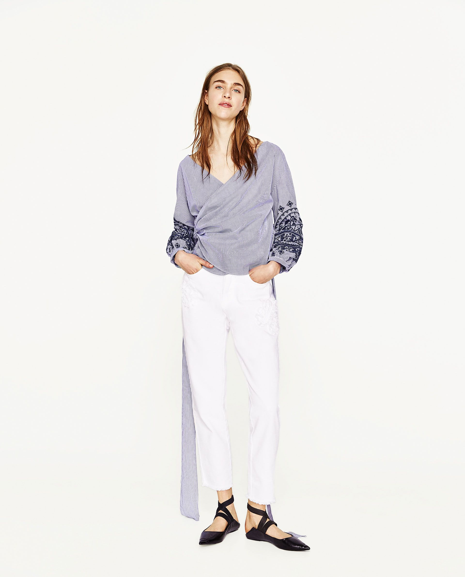 ZARA+-+WOMAN+-+CROSSOVER+STRIPED+BLOUSE+WITH+SLEEVE+EMBROIDERY
