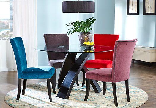 Del Mar Ebony 5 Pc Round Dining Set W Plum Chairs 599 99 Find