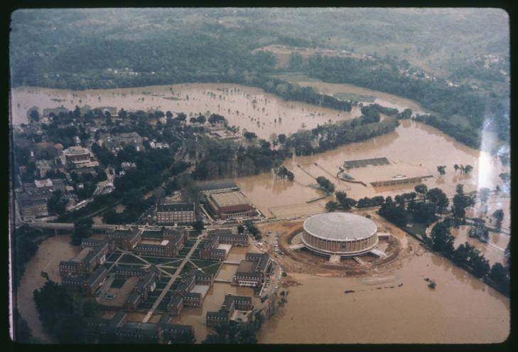 Flooded athens campus of ohio university aerial view may