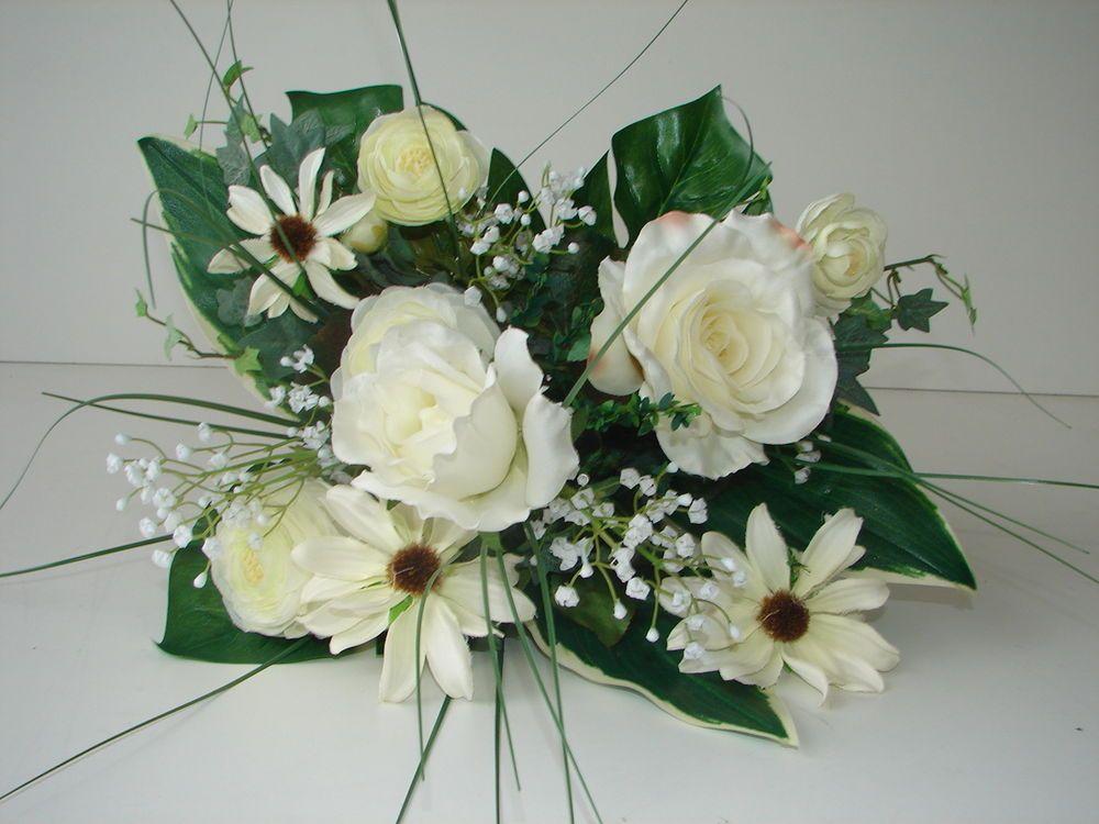 Blumenstrauß Rosen/Ranunkeln weiß 34cm H Andreas Kunstblumen Neu