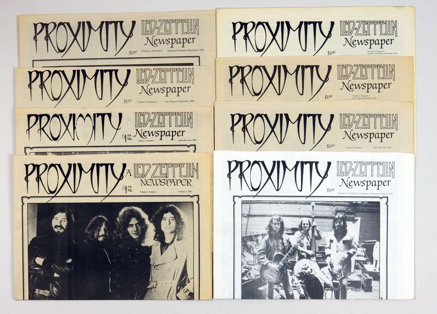 Led Zeppelin Proximity Fanzine 1980 - 1981 Vol. 1 thru 8 First 2 years complete