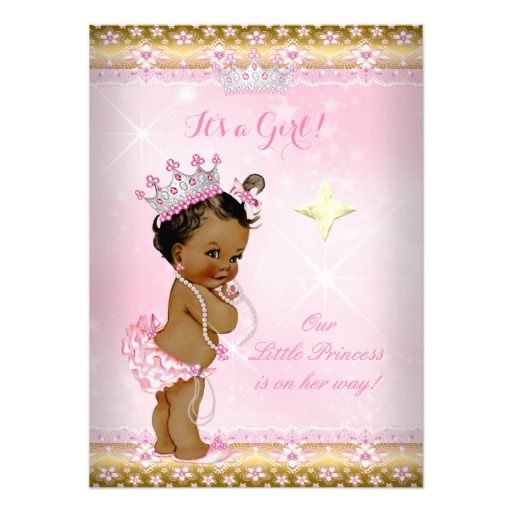ethnic princess baby shower pink tutu gold tiara a 5x7 paper, Baby shower invitations