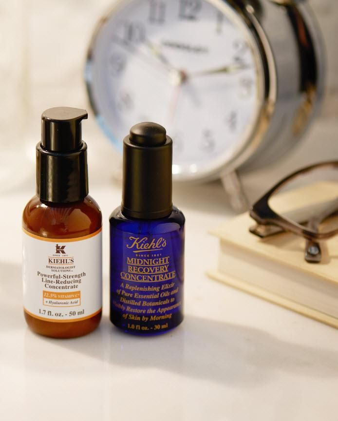 The best nighttime skincare routine is a simple one. In just two steps, achieve radiant, glowing skin with facial serums. Kiehl's Powerful-Strength Line-Reducing Concentrate plumps and smooths skin with potent Vitamin C and Hyaluronic Acid. Midnight Recovery Concentrate is a natural skincare product that utilizes essential oils to lock in hydration and replenish skin overnight.