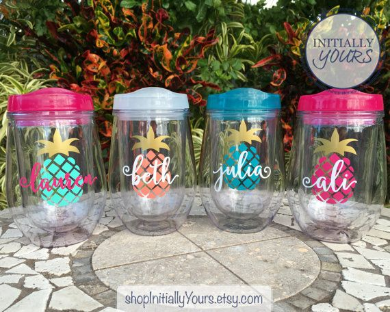 Personalized Pineapple Wine Cup Bev2go Wine Cup Custom