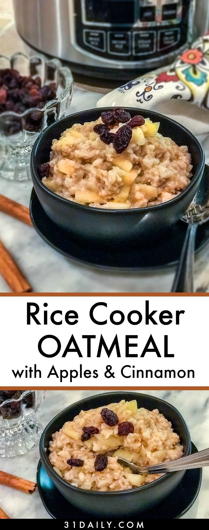 Easy Rice Cooker Oatmeal with Apples and Cinnamon #ricecookermeals