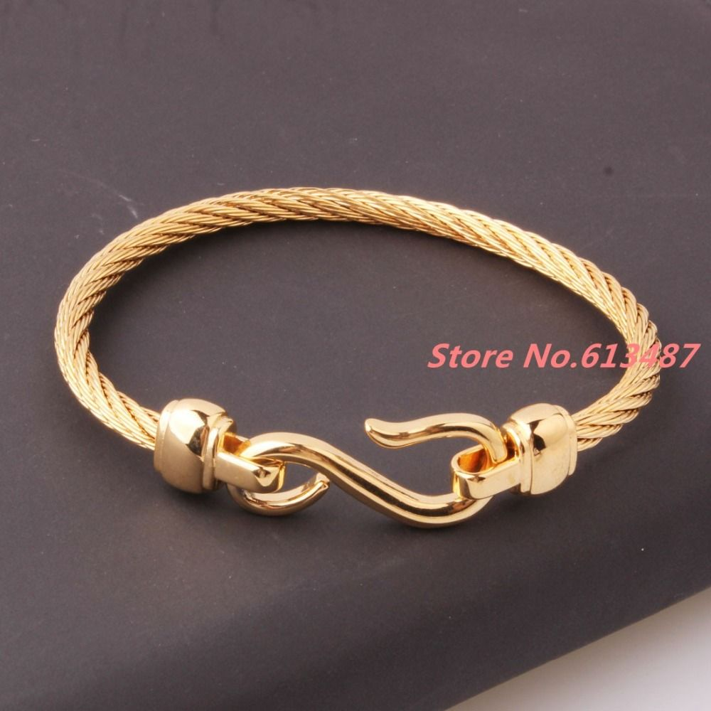 New mm l stainless steel twisted cable wire gold cuff chain men
