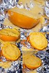 Orange Cakes, baked in the Orange Peel it's self, learned how to cook these when I was in boy Scouts, so good!