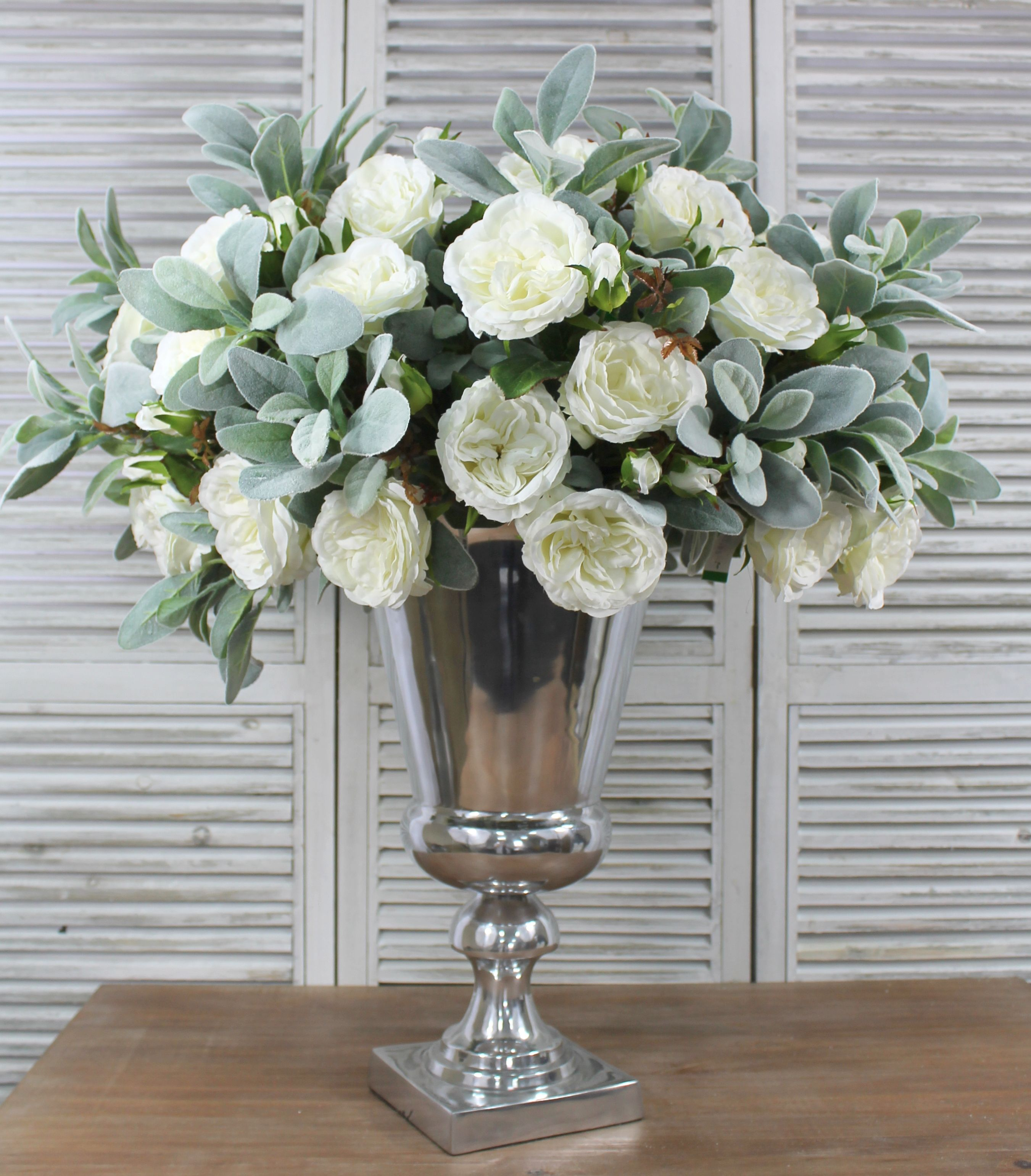 White Green Floral Display In Silver Urn Artificial Flowers Artificial Flowers Decor Artificial Flower Arrangements White Flower Arrangements