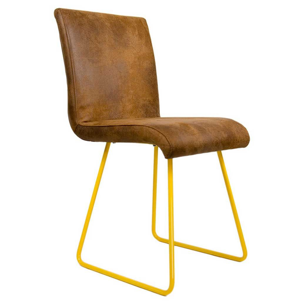 Furniture - Ari Yellow and Leather Chair - Hutsly. Handcrafted in Poland, the Ari chair doesn't look like any we've seen before! Featuring yellow steel legs and leather upholstery, it would make the perfect desk chair. Or why not mix and match with other Ari chairs and dot them around the dining table?