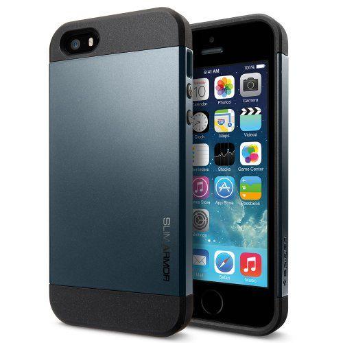 nice Spigen | SPIGEN SGP SGP10088 Slim Armor Case for iPhone 5/5S - 1 Pack - Retail Packaging - Metal Slate