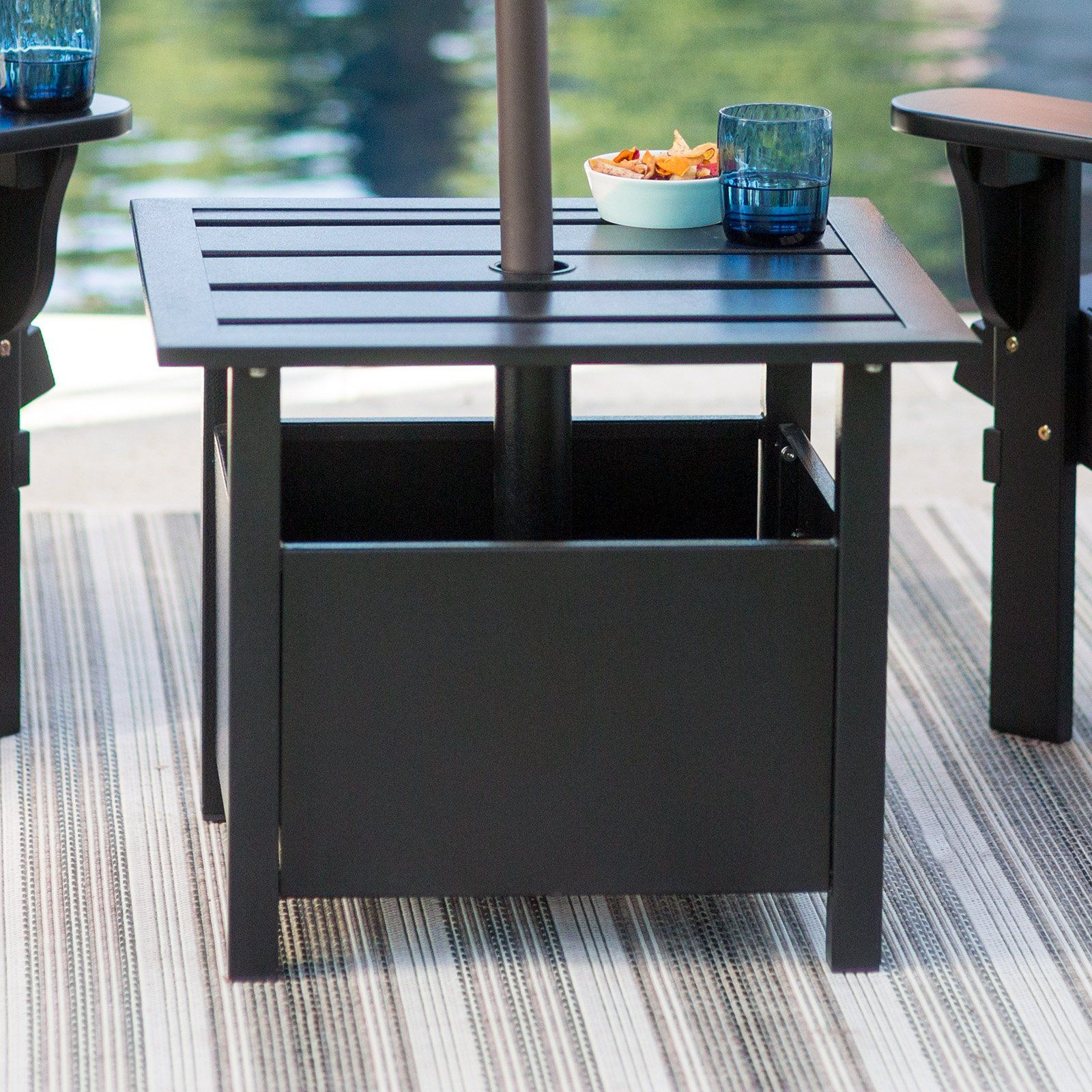 Belham Living Steel Square Umbrella Side Table With Slat Top From
