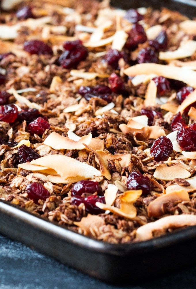 Chocolate coconut granola with cranberries - my kids love this because it turns the milk chocolatey!