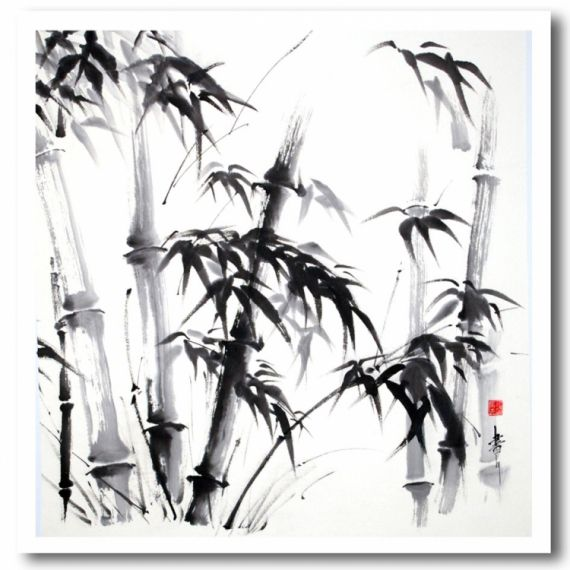 Tableau Peinture Bambous Sumi E Encre De Chine Japon Encre De