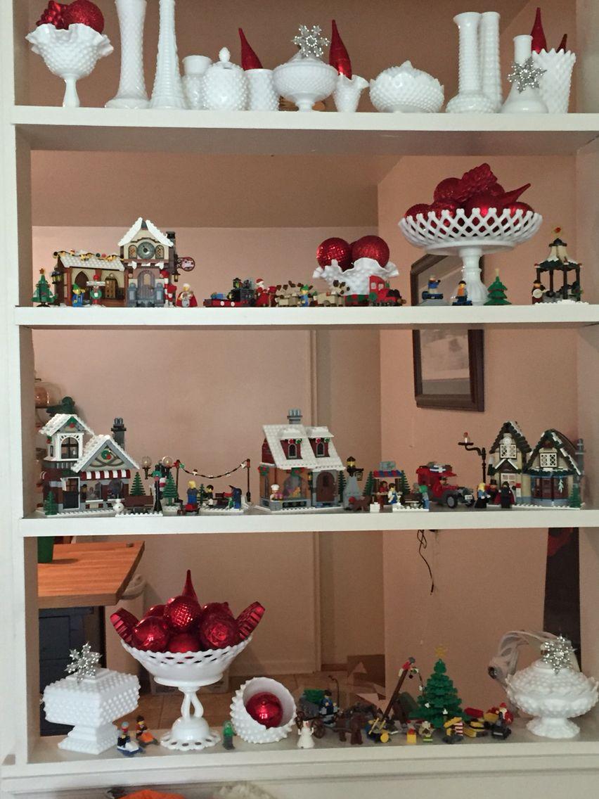 Milk Glass and Lego Christmas