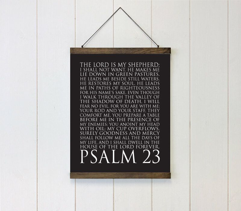 Psalm 23 the lord is my shepherd schoolhouse bars hanging canvas art housewarming gift bible quote oversized canvas wall decor