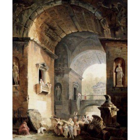 The Musicians Hubert Robert (1733-1808French) Oil on Canvas Pushkin Museum of Fine Arts Moscow Canvas Art - Hubert Robert (18 x 24)