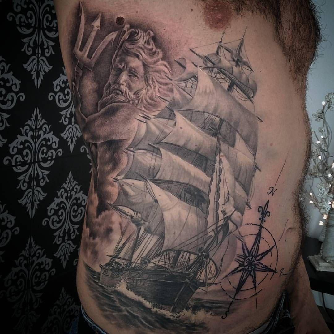 Nautical Tattoo Poseidon And Ship: Tatuaje En Proceso, Faltan Fondos De La Parte De La Rosa