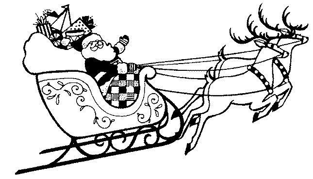 Printable Christmas Coloring Page Santa With Sleigh And