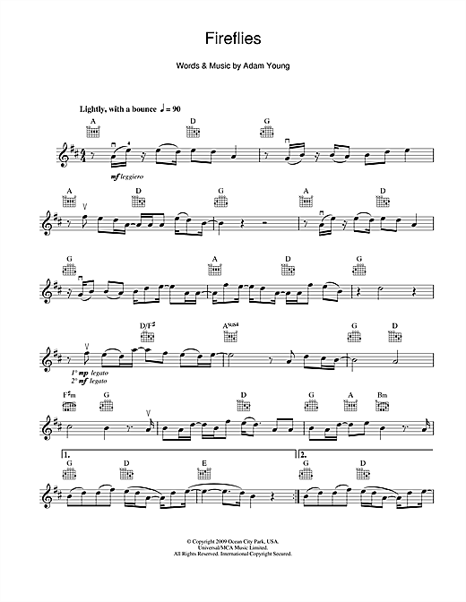 Fireflies by Owl City Violin Solo Digital Sheet Music