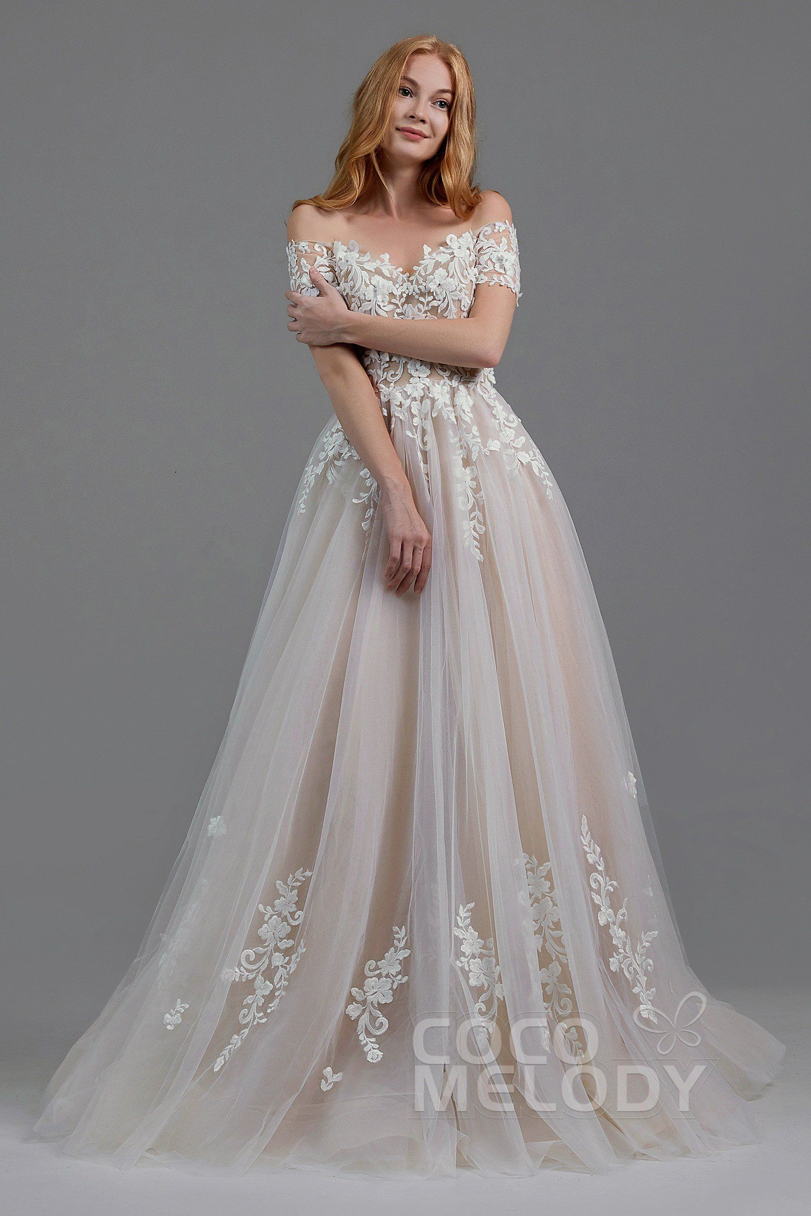 cb828d621 A-Line Sweep-Brush Train Tulle Wedding Dress LD5830 in 2019