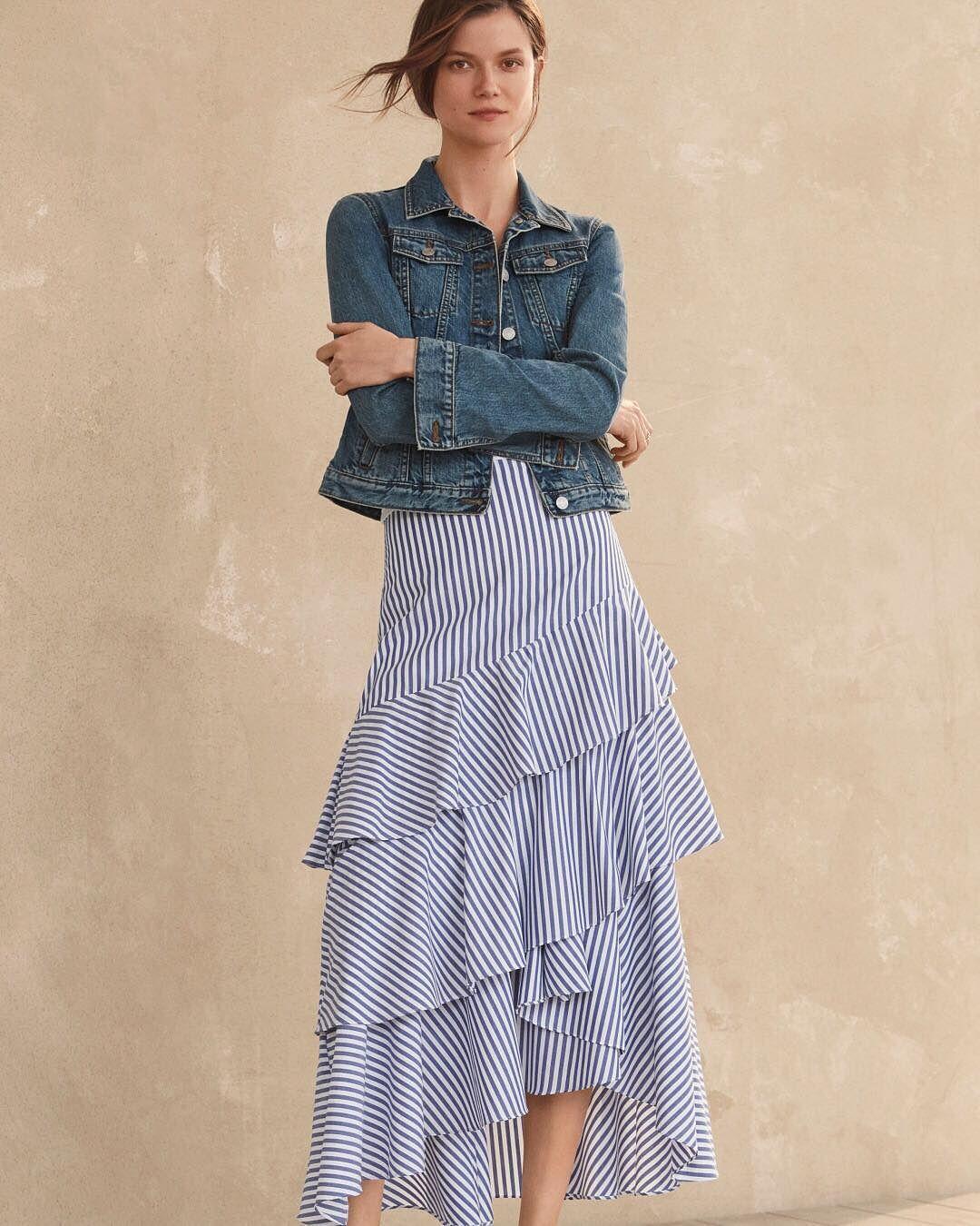 0147ba33cc Summer's most wanted = the tiered ruffle maxi skirt. Cascading ruffles,  high-low hem, stripe cotton poplin... an effortless statement. #itsbanana