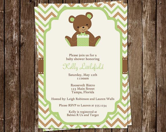 Teddy Bear Baby Shower Invitations Boys Girls Chevron