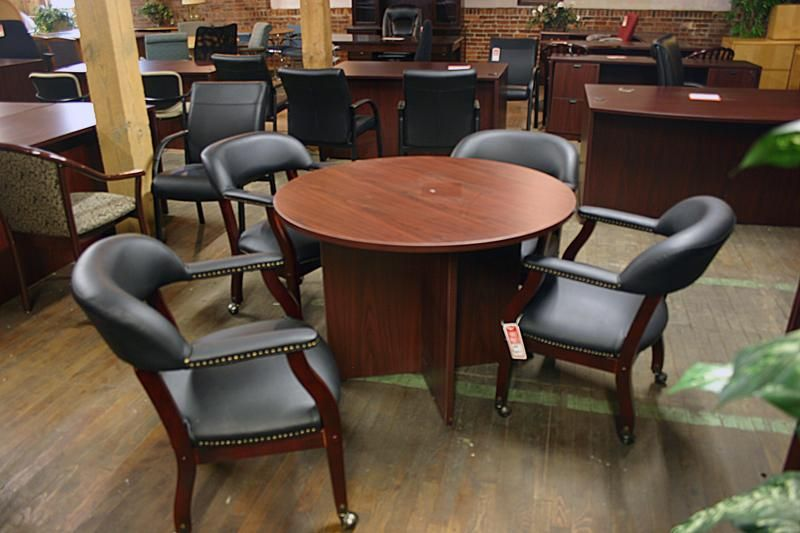 Compel Round Conference Table And Captains Chairs   Www.bfwnashville.com