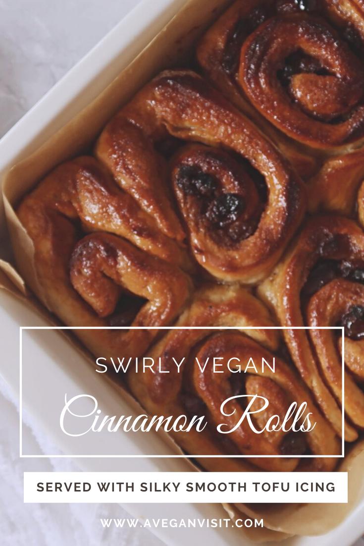 Swirly Cinnamon Rolls With Tofu Icing A Vegan Visit Recipe Vegan Cinnamon Rolls Cinnamon Rolls Sweet Treats Recipes